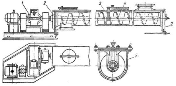Промежуточные опоры винтового конвейера чертежи транспортер зпс